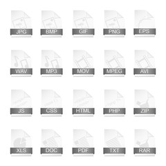 File format icons. Vector illustration.