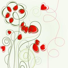 Tuinposter Abstract bloemen Flower love illustration