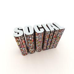 Social 3D title text label
