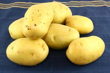 Yukon Gold Potatoes On A Blue Kitchen Towel