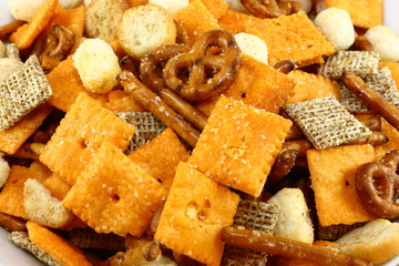 Bowl Of Snack Mix Close Up