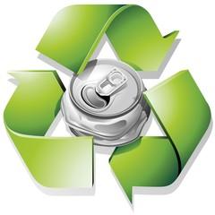 Lattina Schiacciata Riciclaggio-Crushed Can Recycle-Vector