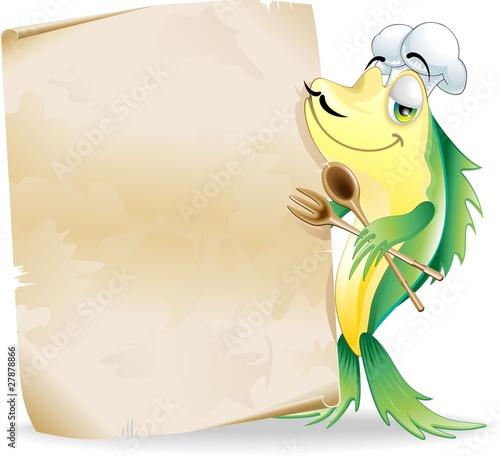 Pesce cuoco cartoon menu ristorante fish chef vector for Scarica clipart