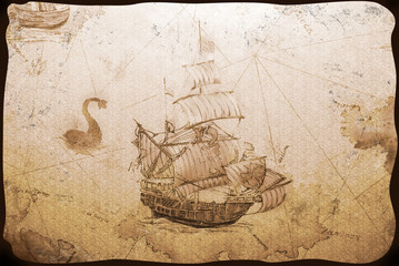 Old wallpaper with the image of a sailing vessel