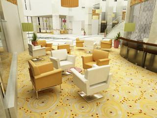 sala d'attesa hotel albergo 3d