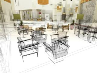 sala d'attesa albergo hotel 3d
