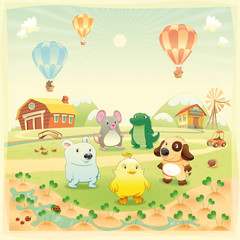 Poster Dogs Animals in the countryside. Vector isolated objects.