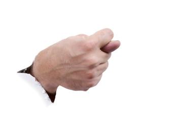 hand on white paper macro