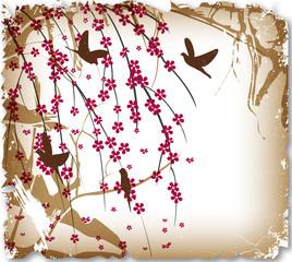 Vintage card, birds in thorns