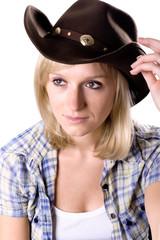 pretty western woman in cowboy hat