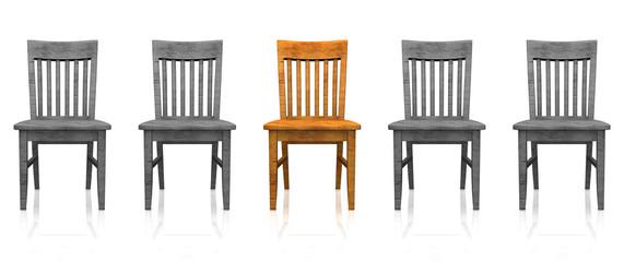 3D Stuhlreihe - Orange grau