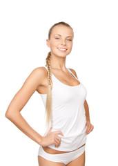 lovely woman in white cotton underwear
