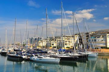 Yachts at Hezlia seashore. Israel.