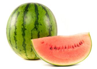 Organic watermelon on white background