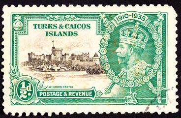 Canceled Turks Caicos Postage Stamp King George V Windsor Castle
