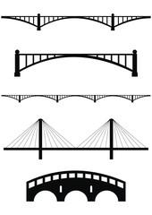 Fotobehang Brug Vector set of bridge black silhouettes