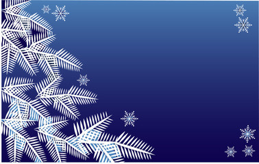 Christmas wreath full of snow on blue background.