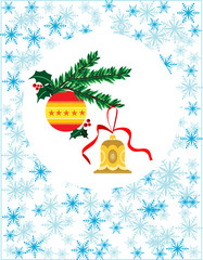 Christmas wreath with ball and bell