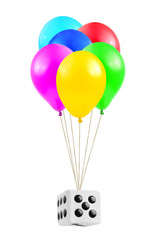Multicolored balloons and dice