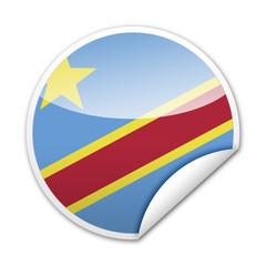 Pegatina bandera Republica Democratica Congo con reborde
