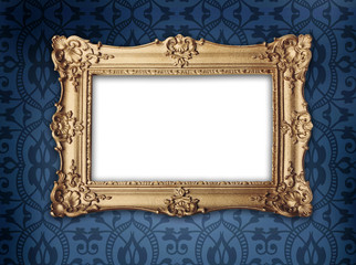 gold frame on victorian or regency style wallpaper