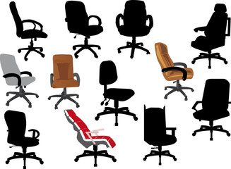 set office chairs isolated on white