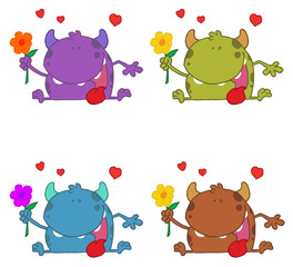 Monster Holding A Flower Under Hearts Collection