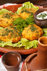 potato fritter with sauce
