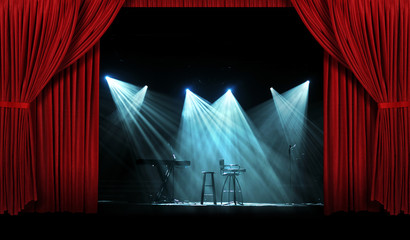 Wall Mural - Concert with Stage with  Red Curtains