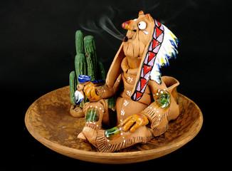 indian smokes pipe
