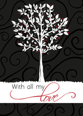Tree - greeting card With all my love
