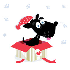 Black dog puppy sitting in a christmas present. VECTOR