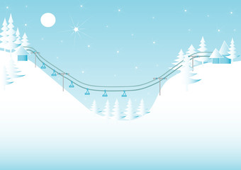 Winter mountain landscape with a ski lift,sample for text