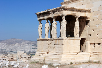 Porch of Maidens in the Acropolis in Athens, Greece