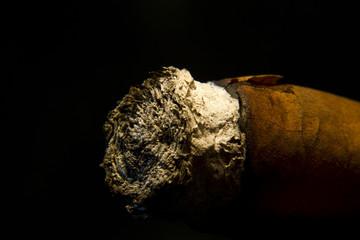 Zigarre und Asche in Nahaufnahme
