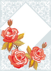 roses on light blue decorated background
