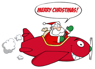 Santa Flying With Red Christmas Plane With Speech Bubble