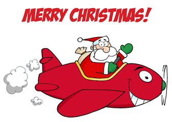 Happy Holidays Greeting With Santa Flying