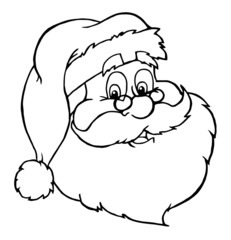 Outlined Classic Santa Claus Head