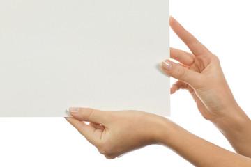 Paper clean sheet in female hands