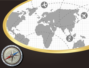 Background with the navigator radar for plane and aircraft