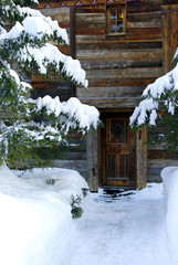 Footpath to a nice ski resort chalet