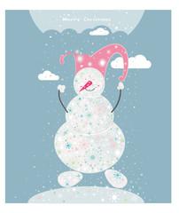 Cartoon Christmas snowman.