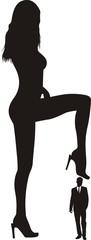 businessman under a female heel