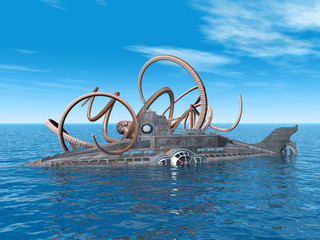 Fantasy Submarine with Octopus