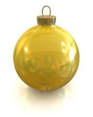 Yellow christmas glossy and shiny ball isolated