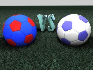 Balones de futbol del derby sobre césped