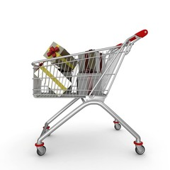 3d shopping push cart with gifts