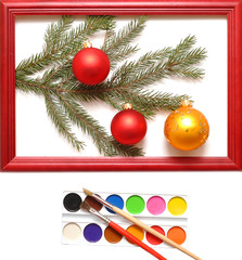 christmas balls in wood frame