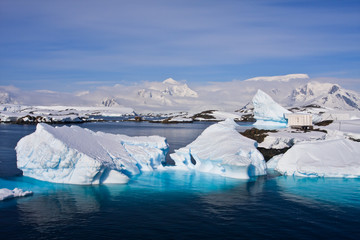 Huge icebergs in Antarctica